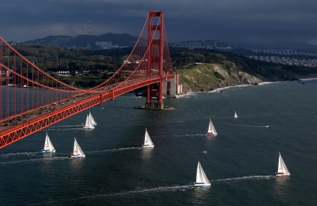 Clipper Race at the Golden Gate bridge in San Francisco - start of leg 7