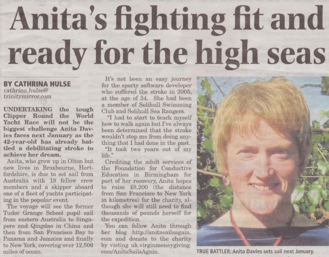 Solihull News:  Anita's fighting fit and ready for the high seas