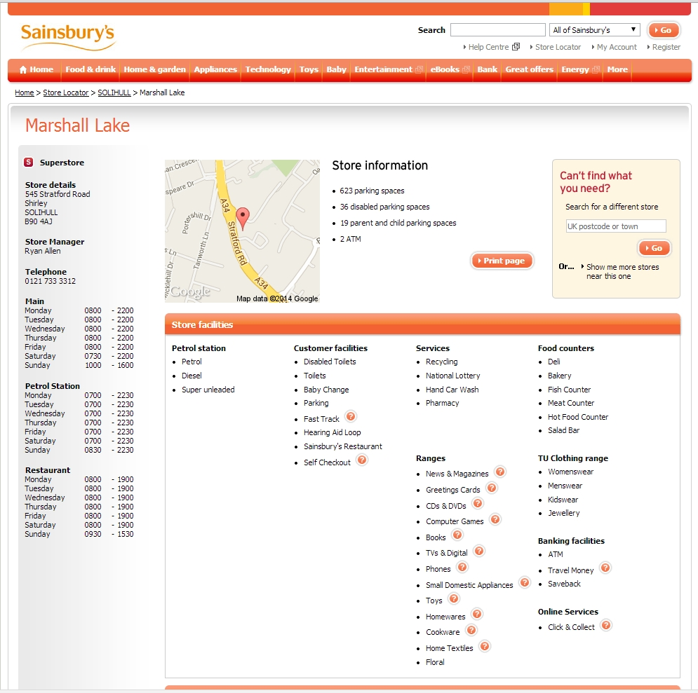 Store Details, Sainsburys, Marshall Lake